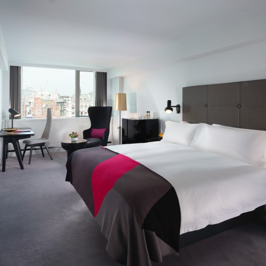 The spacious River View Deluxe hotel rooms are positioned above the Thames, with exceptional views of London from the wall-to-wall windows