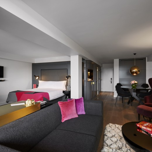The open plan living area in our River View Balcony Suite room