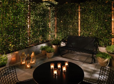 Superior Patio Room | Dylan Thomas | night time | Sea Containers London