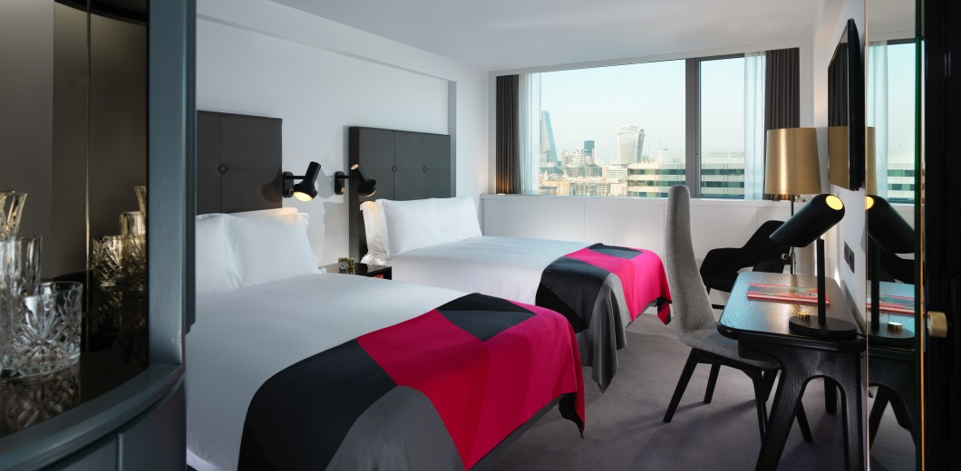 Boutique accommodation with stunning views across London. Featuring twin double beds, our Superior Double Double rooms provide ample space for couples or families to relax.